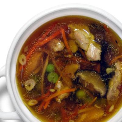 Суп куриный с грибами шиитаке
